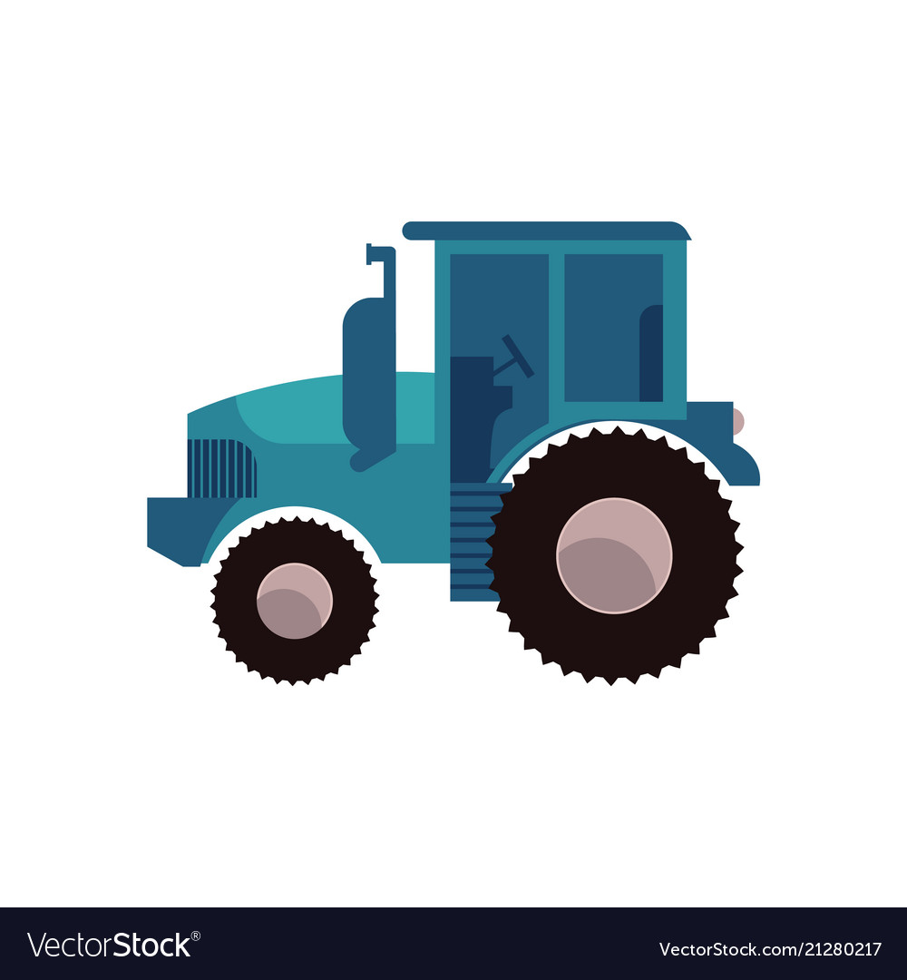 Blue agricultural tractor for work on plantation