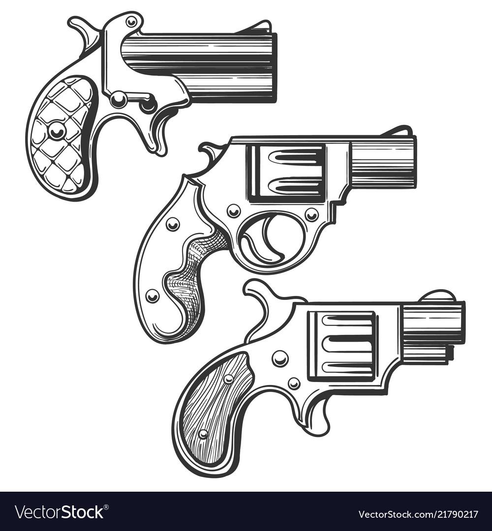 Hand drawn retro pistols set