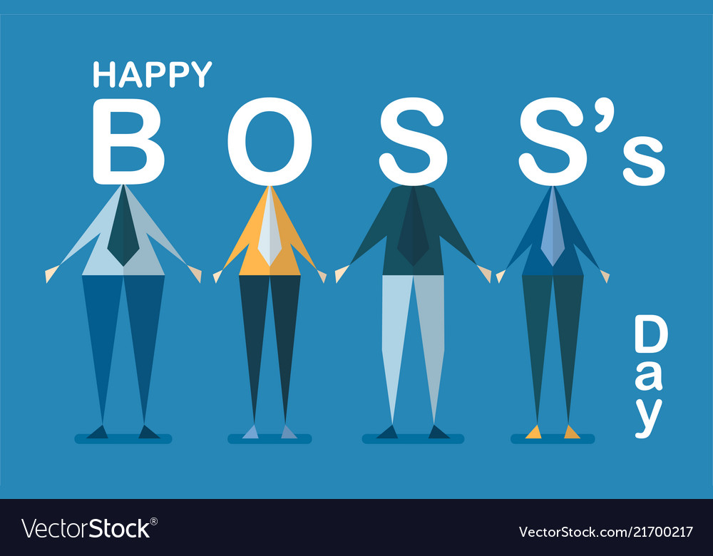 Happy bosss day background with employee isolated