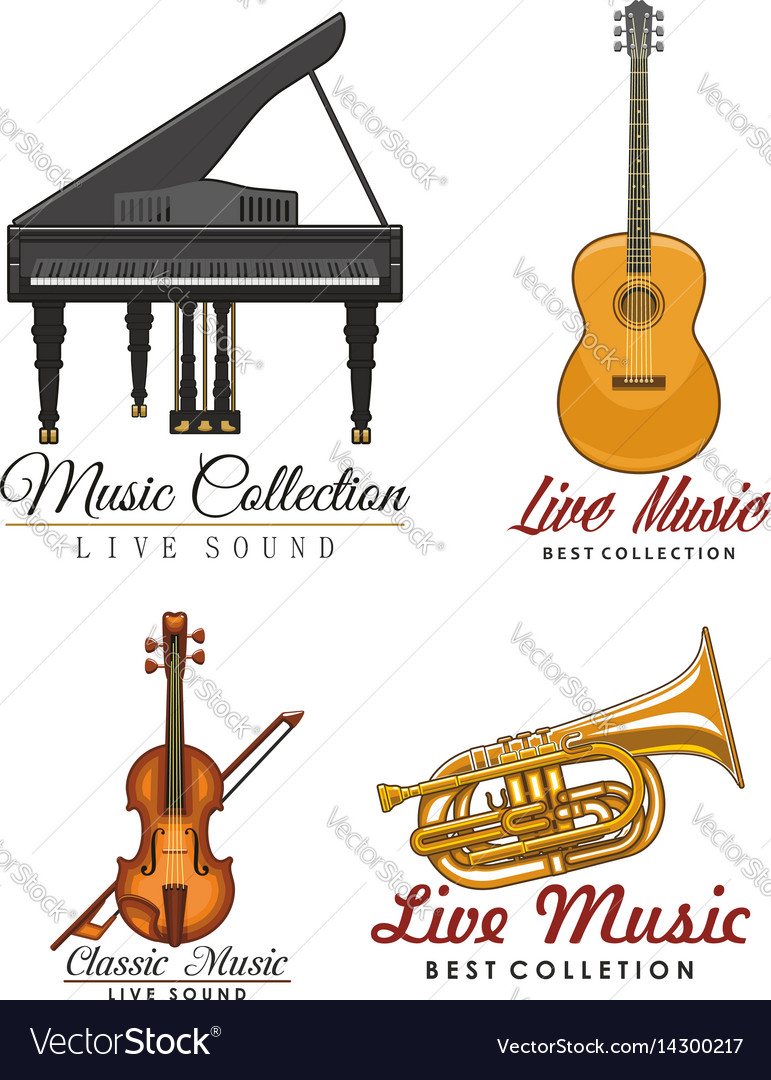 Icons set for music concert labels
