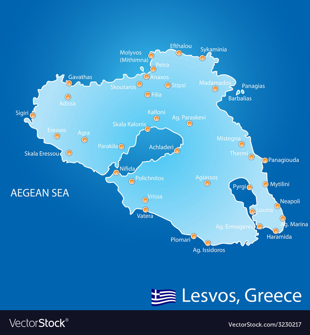 Island of Lesvos in Greece map vector image