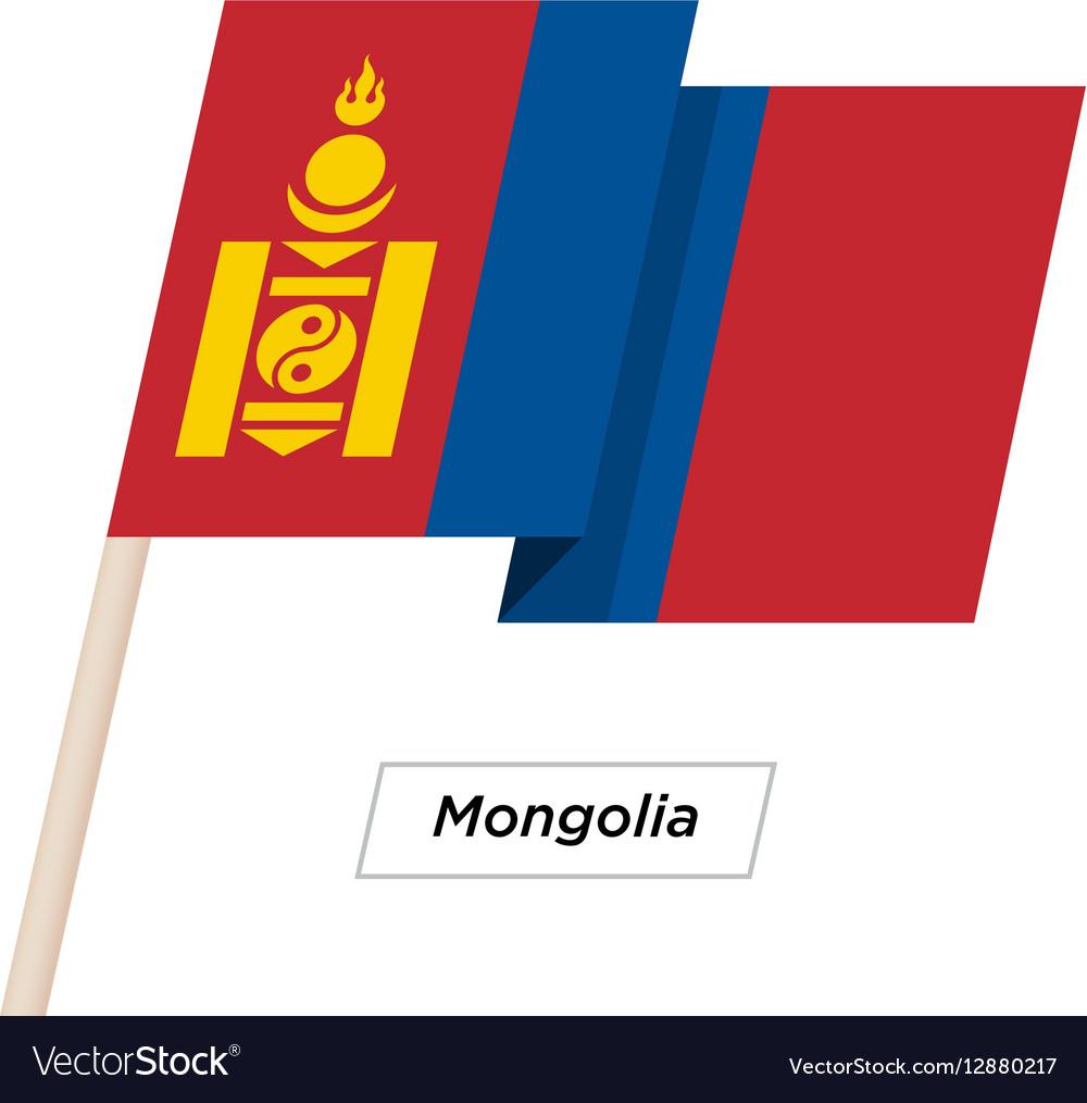 Mongolia Ribbon Waving Flag Isolated on White