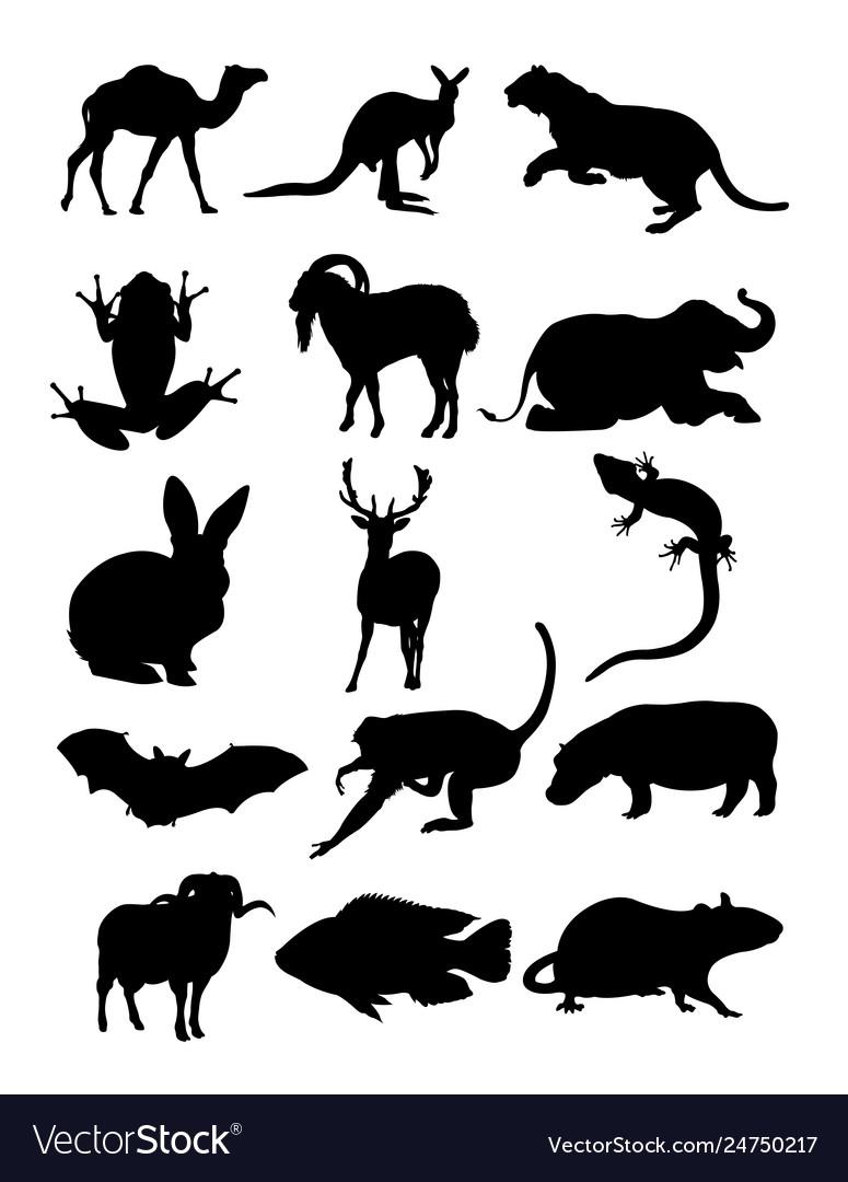 Set animal silhouettes