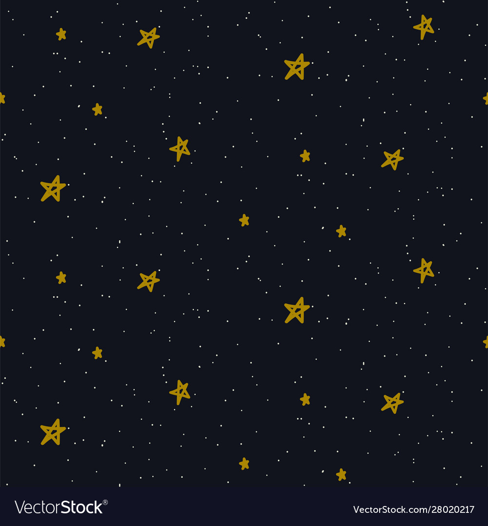 Star sky seamless pattern background blue