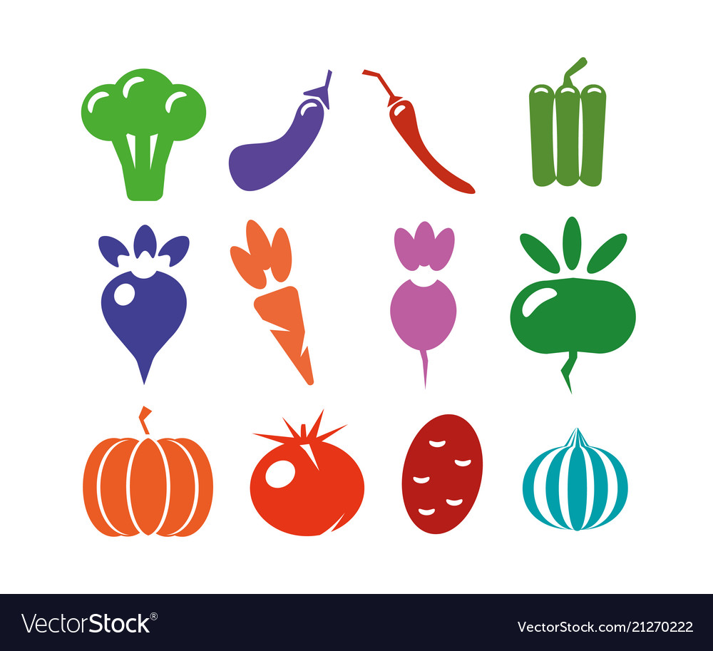 A set of icons of different vegetables on a white