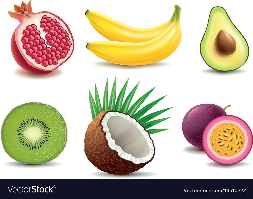 Exotic fruits- pomegranate kiwi coconut banana