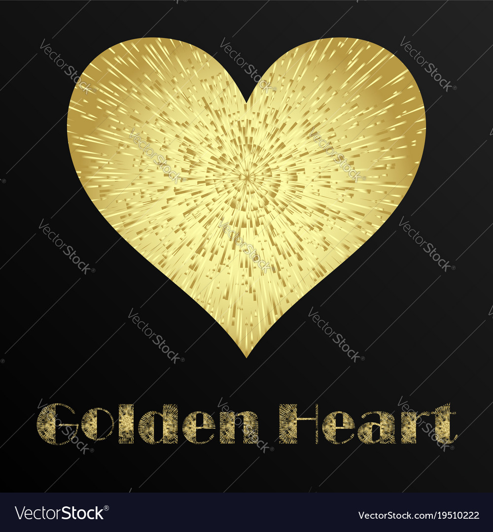Golden metal heart