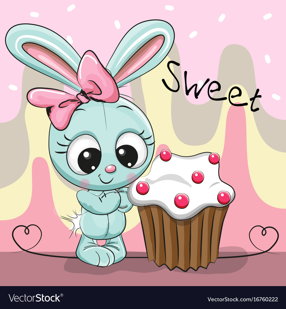 Greeting Card Cute Rabbit With Cake Royalty Free Vector