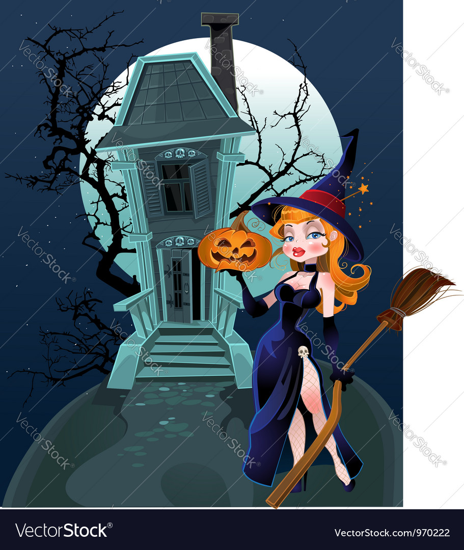 Halloween witch house vector image
