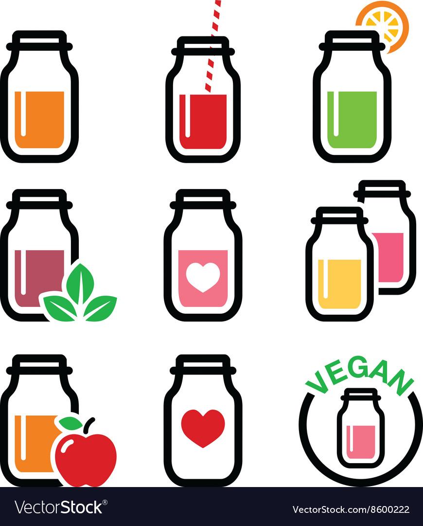 Healthy smoothie drink juice in jar icons set