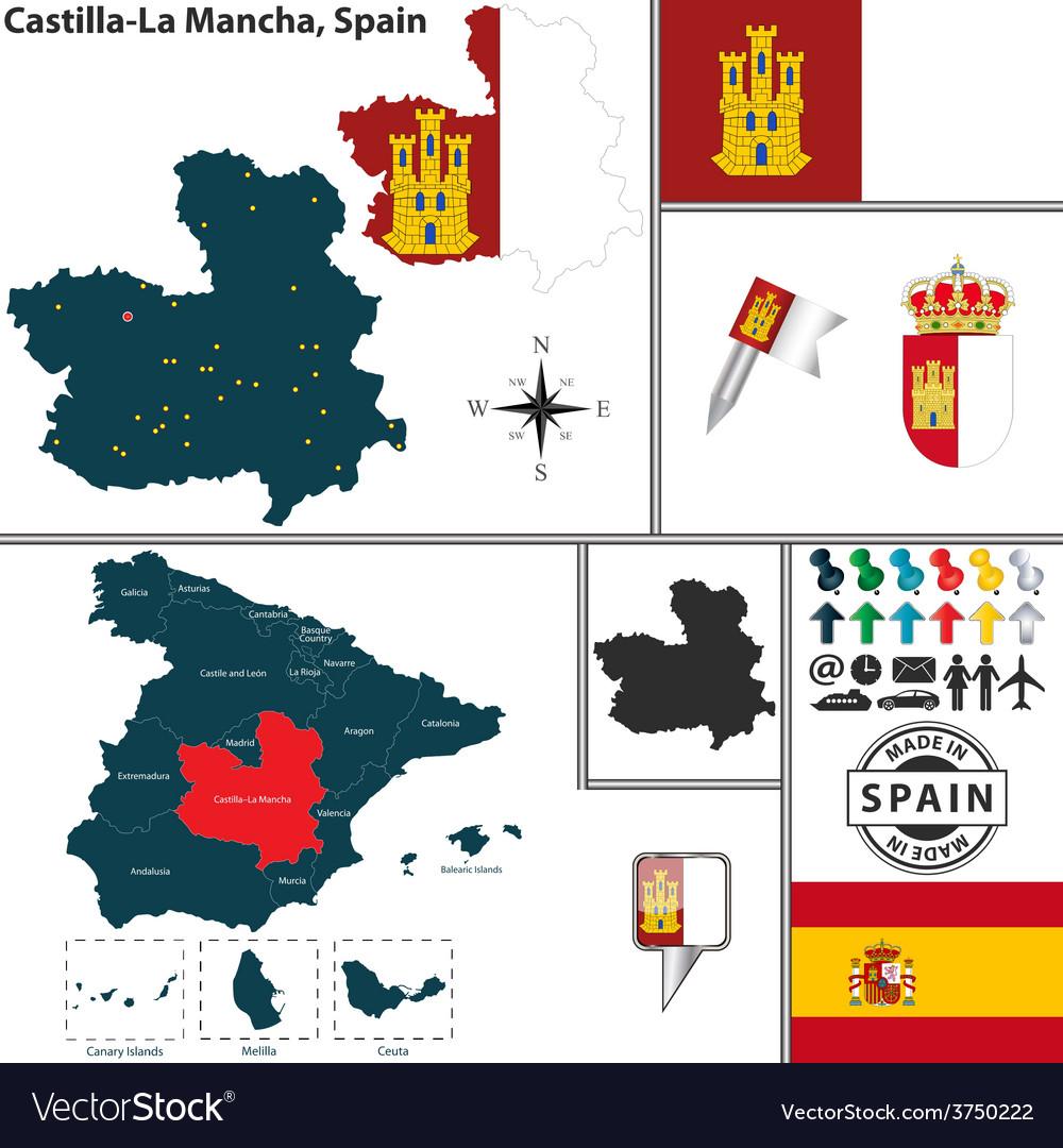 La Mancha Spain Map.Map Of Castilla La Mancha Royalty Free Vector Image