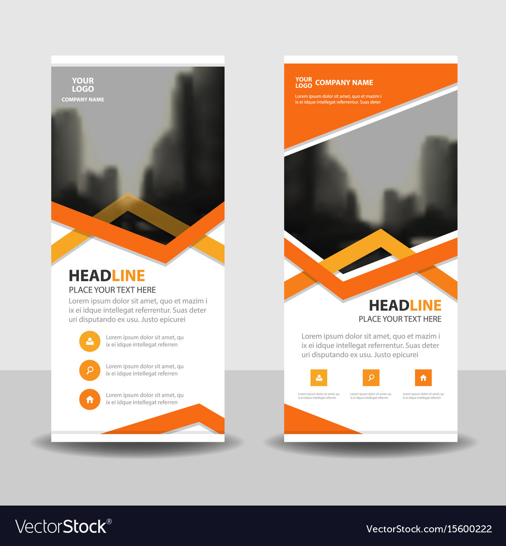 Orange triangle business roll up banner flat