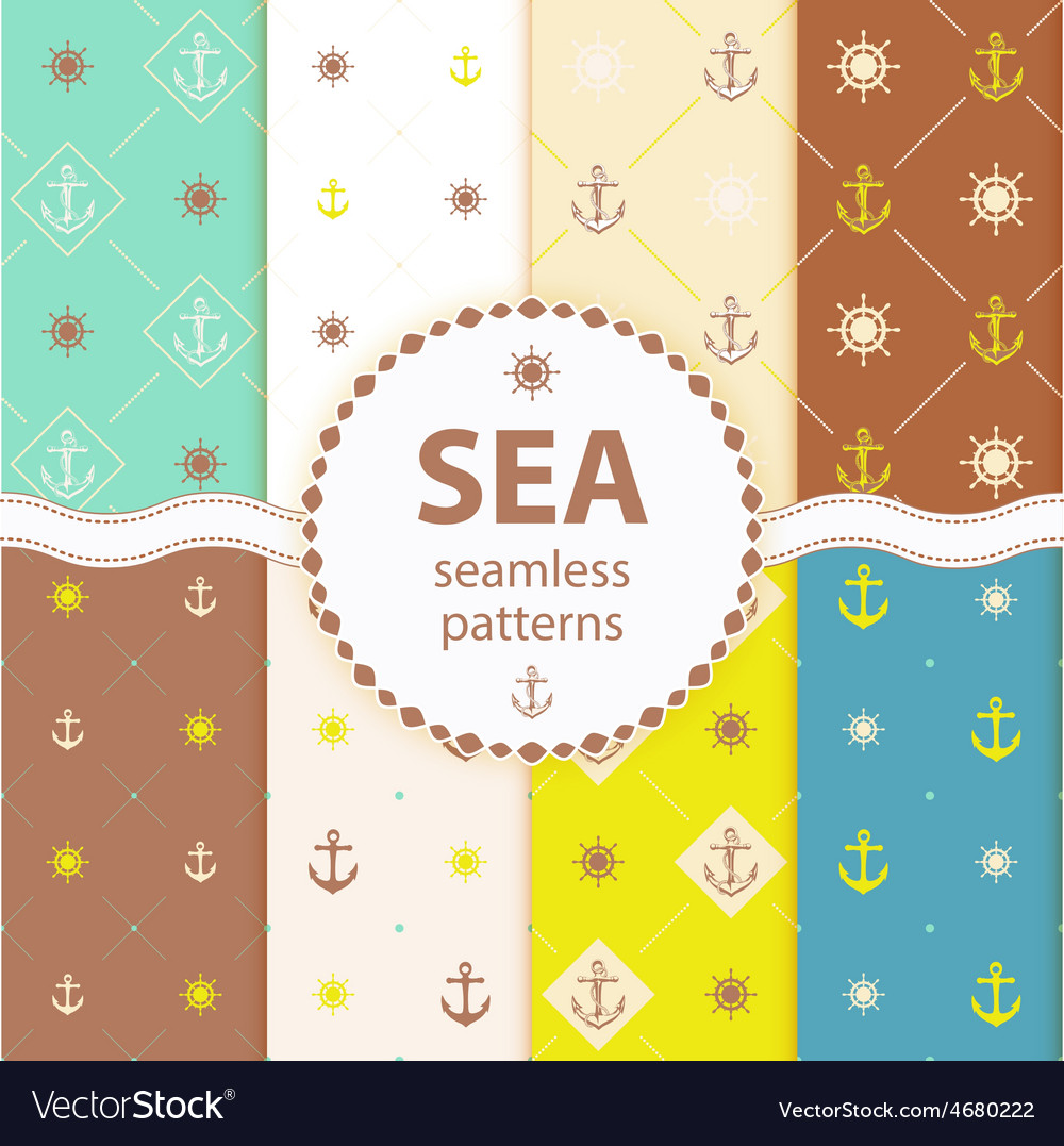Seamless patterns aqua background Set wallpaper