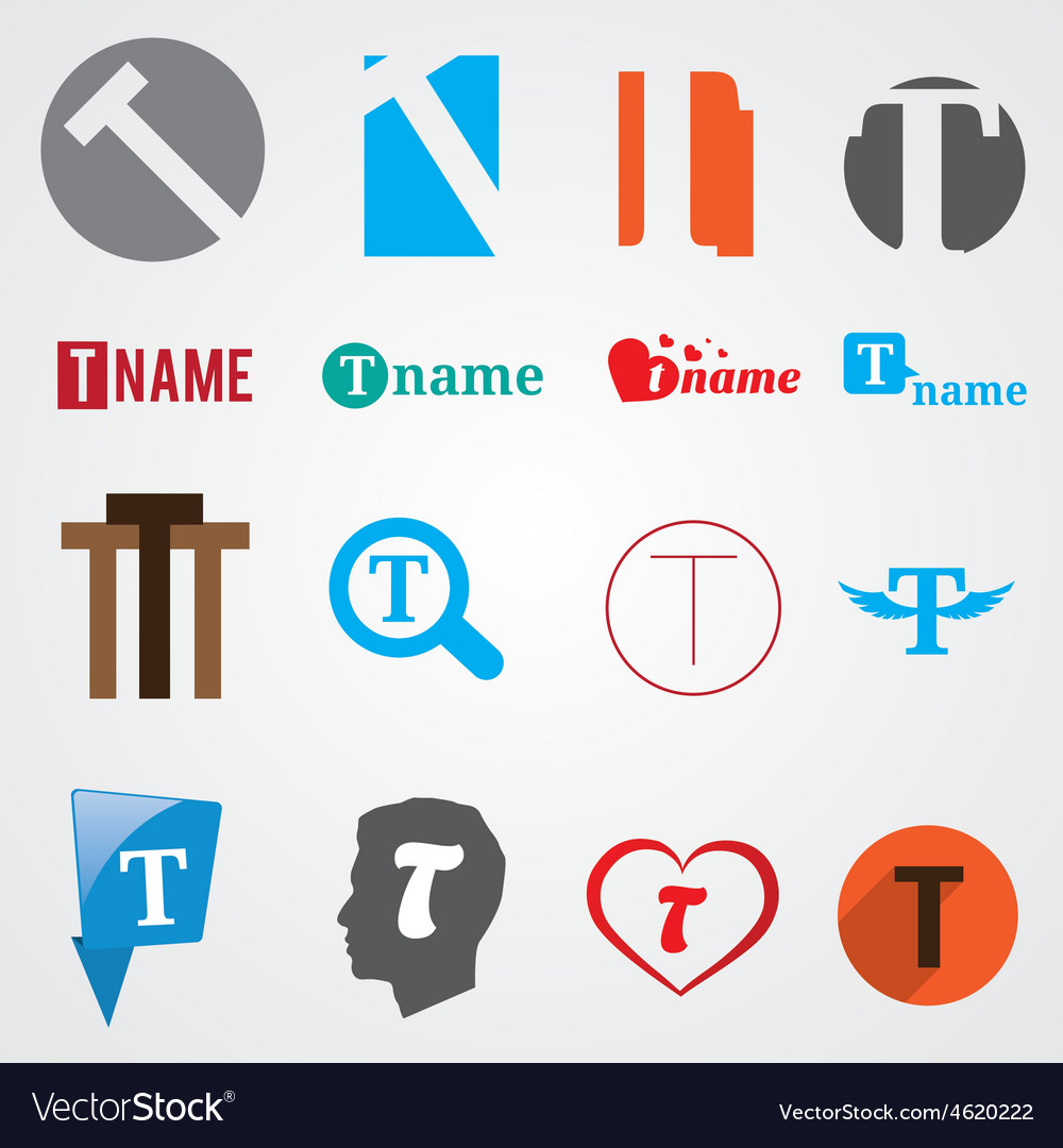 Set of alphabet symbols of letter T