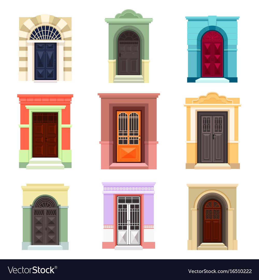 Set of isolated outdoor view on doors