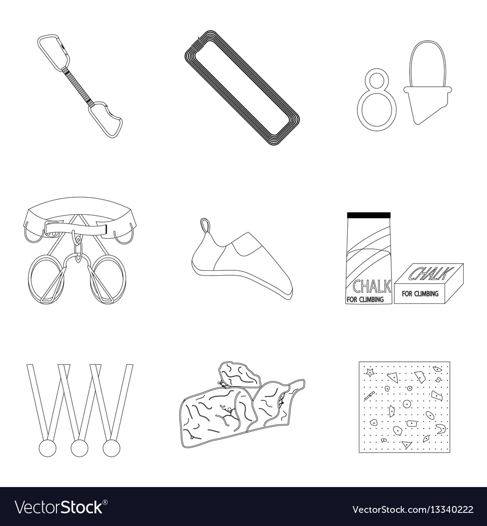 Sports equipment for climbing line icons of set vector image