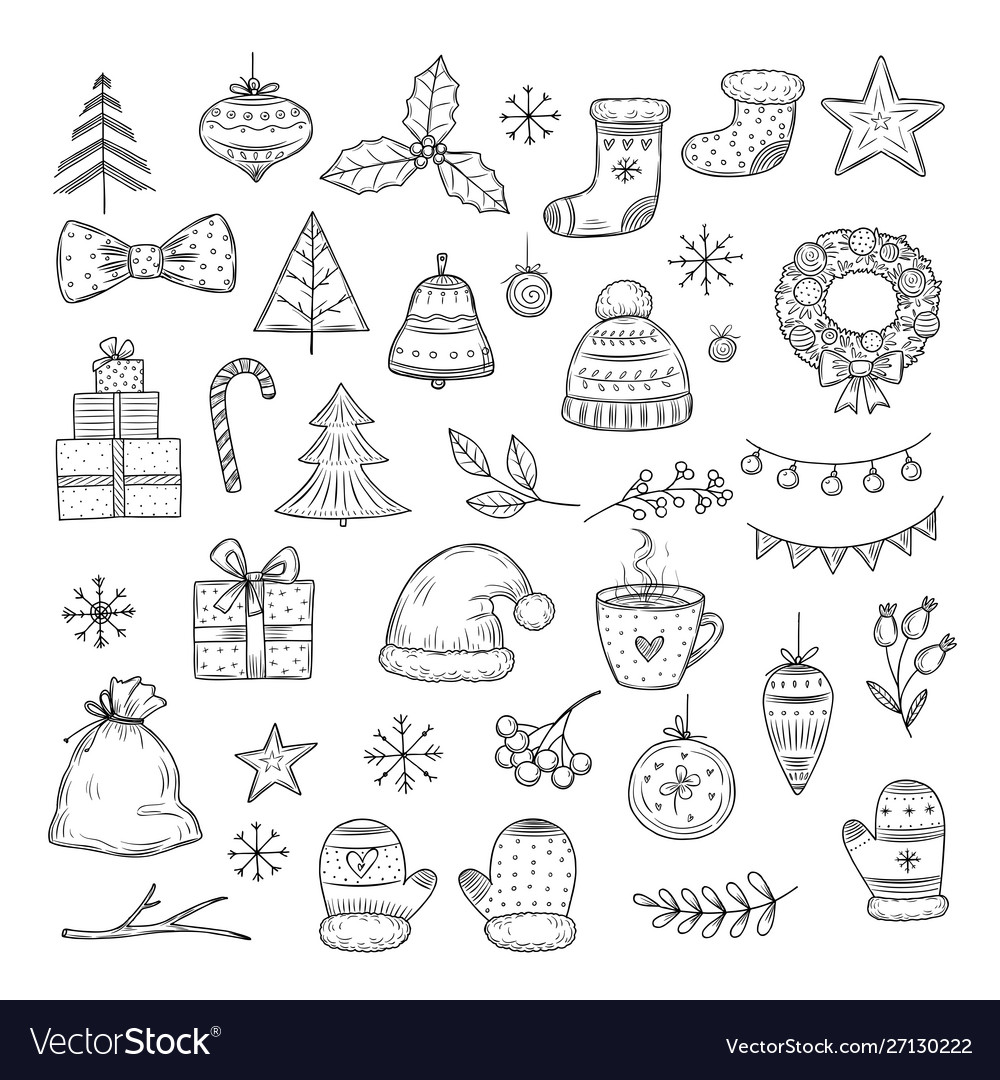 Winter holiday doodle set sketch christmas gift