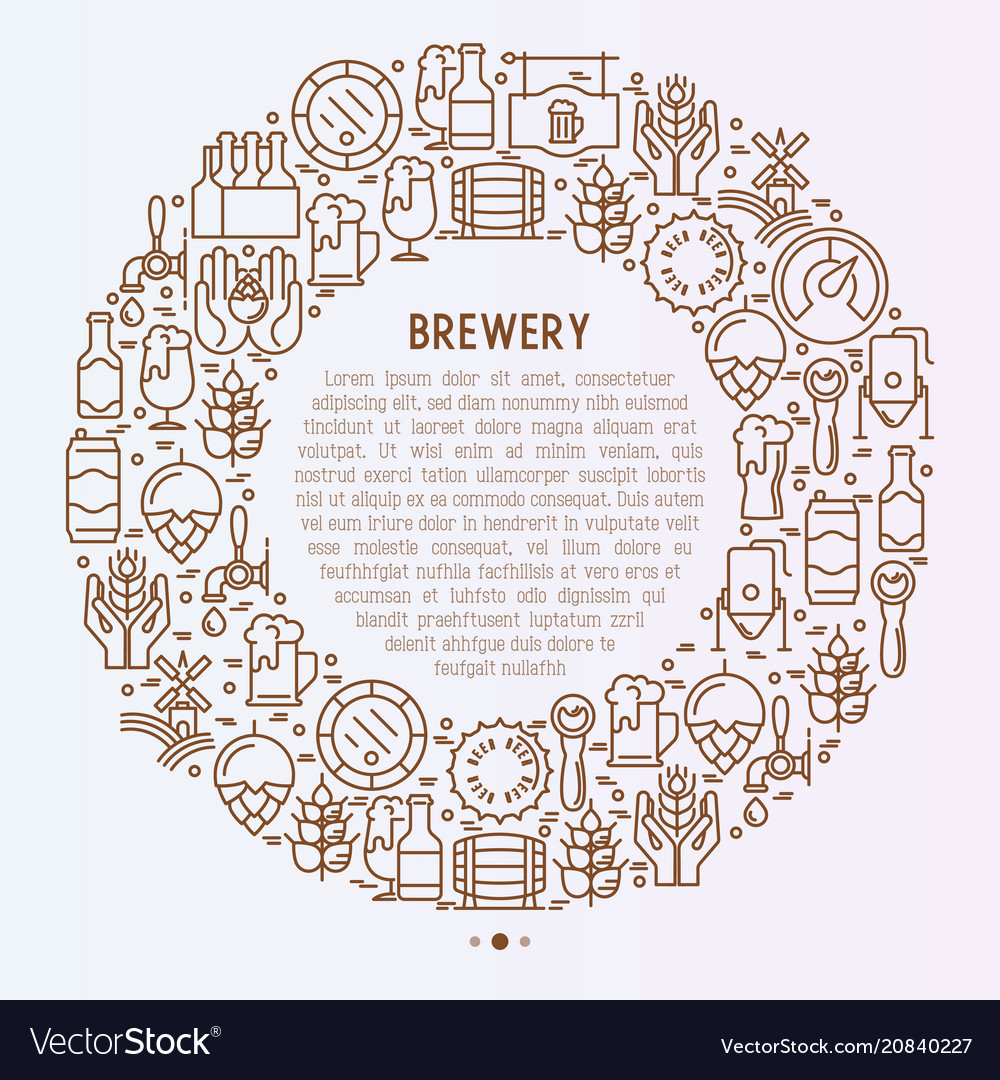 Beer concept in circle with thin line icons