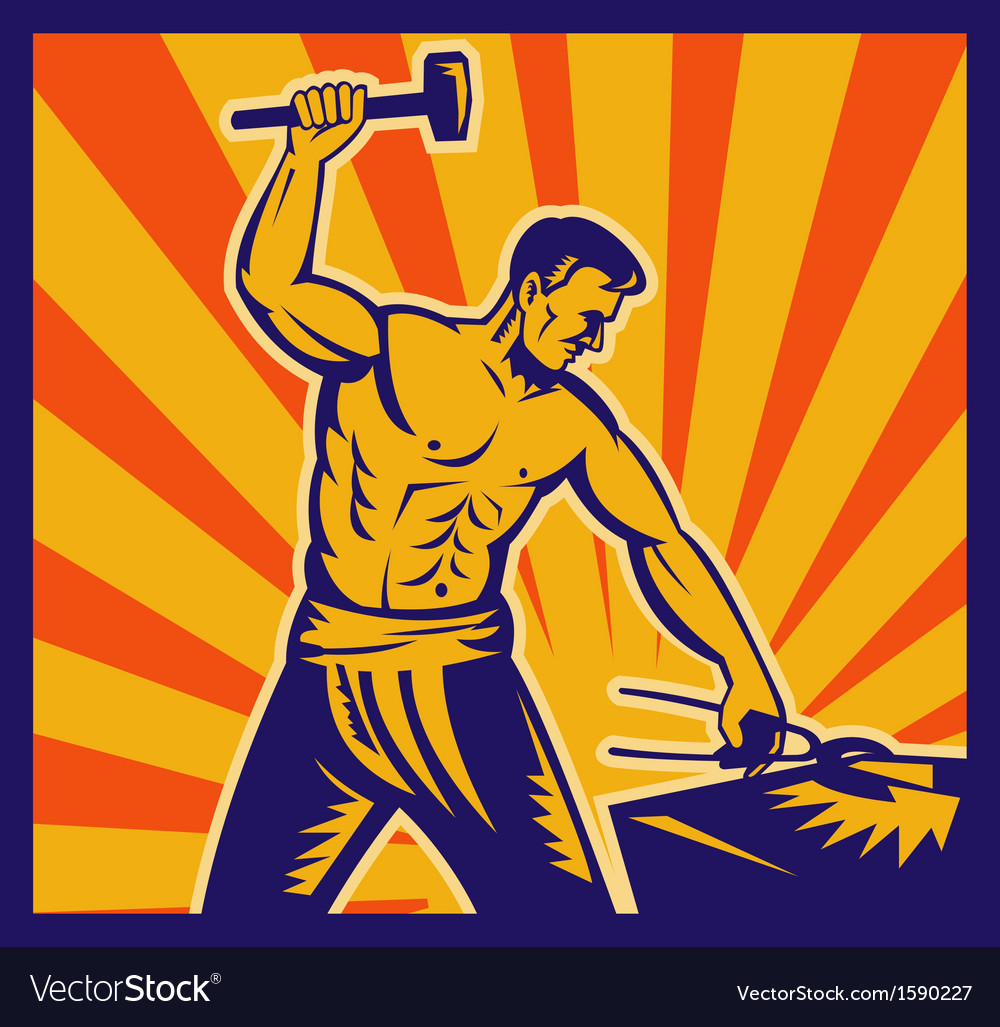 Blacksmith at work wielding a hammer