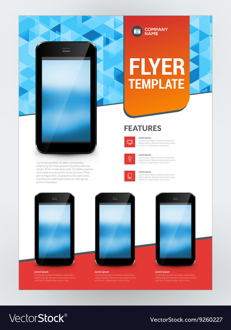 Business flyer design template for mobile vector image accmission Choice Image