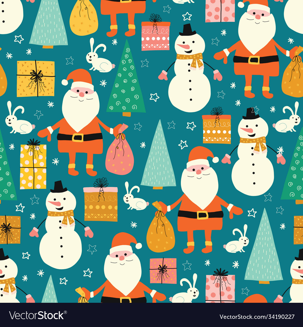 Christmas seamless pattern with santa claus
