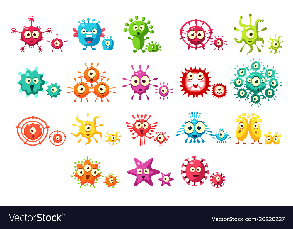 Colorful bacteria cartoon characters set cute