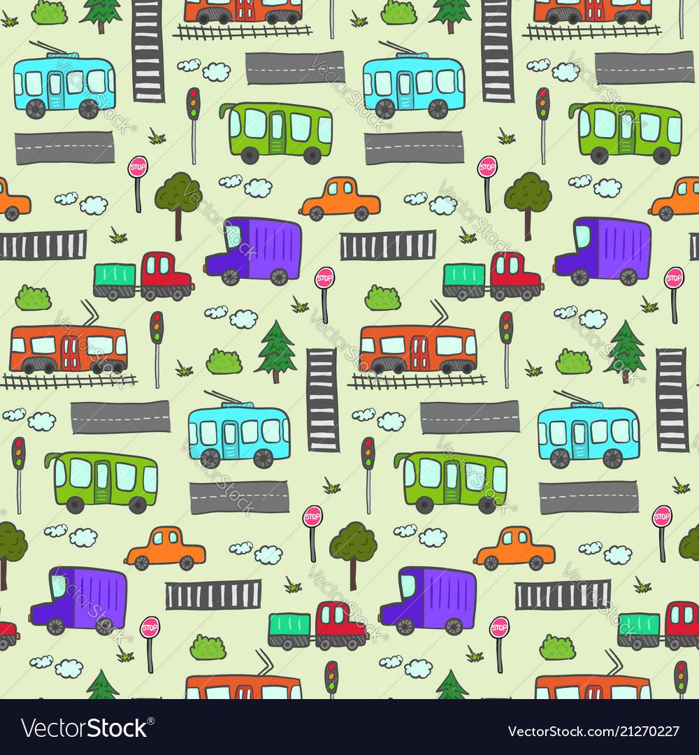 Cute colorful cartoon city transport pattern