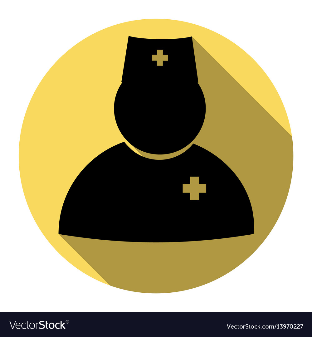 Doctor sign flat black icon