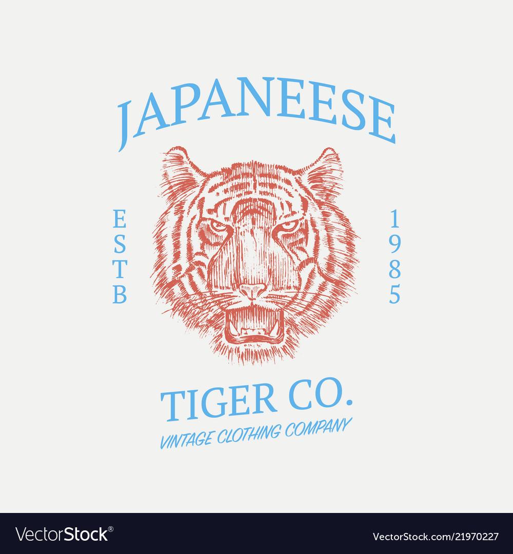 Japanese tiger logo asian cat grunge label print