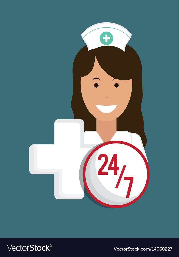 Nurse medical service cross 24-7 vector image
