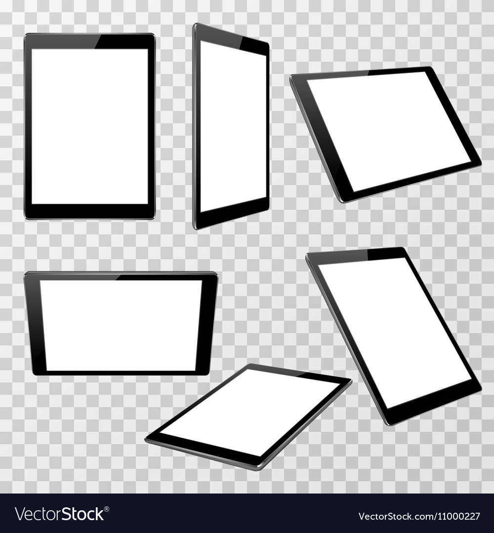Realistic black tablet template isolated on
