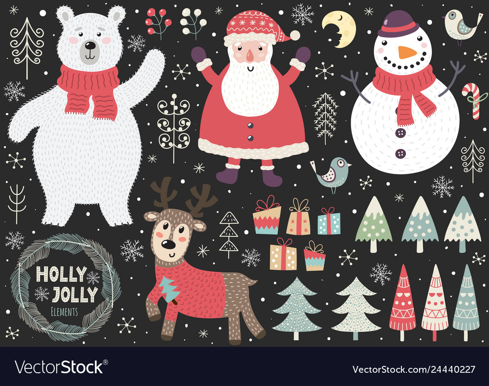 Set cute christmas elements vector