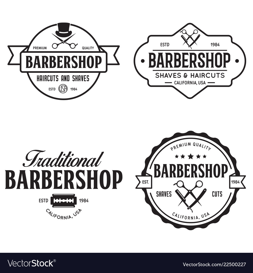 Set of vintage barbershop labels templates for