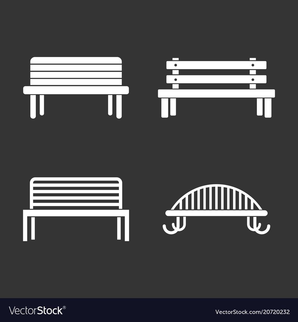 Bench icon set grey