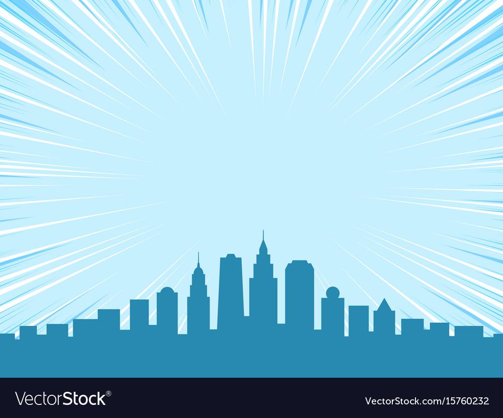 Big city comic cartoon style background vector image