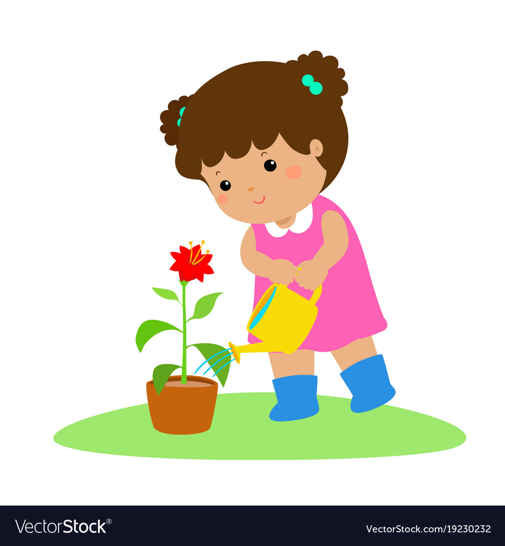 Cute cartoon girl watering plant Royalty Free Vector Image