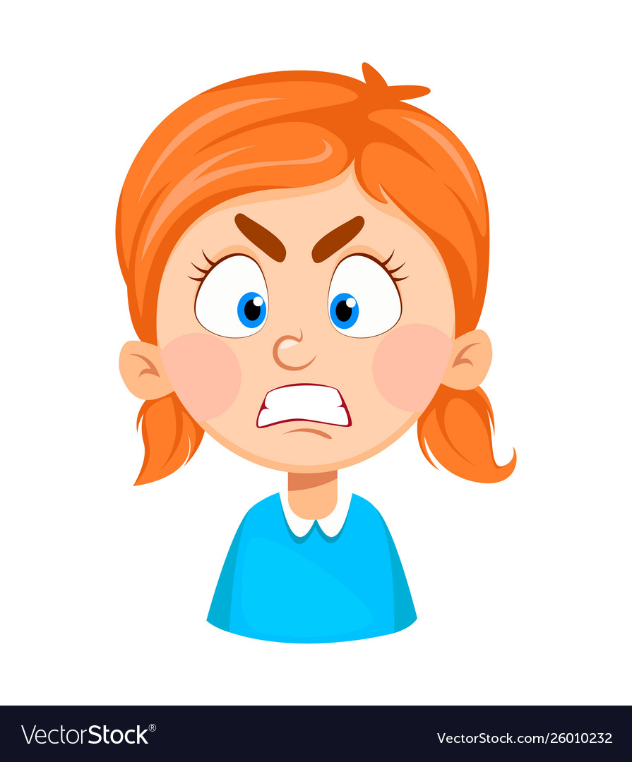 Face Expression Cute Little Girl Angry Royalty Free Vector