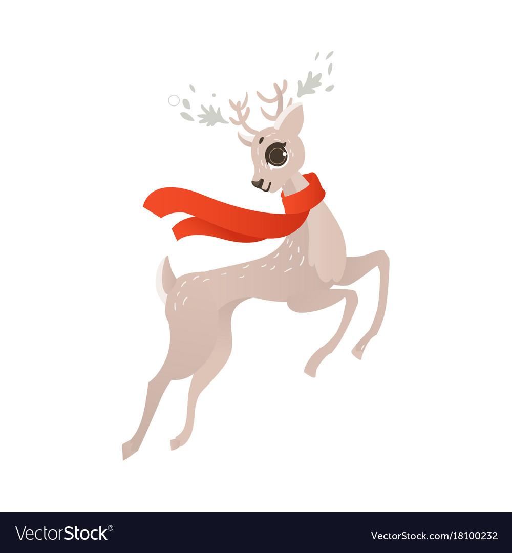 Flat christmas reindeer in red scarf