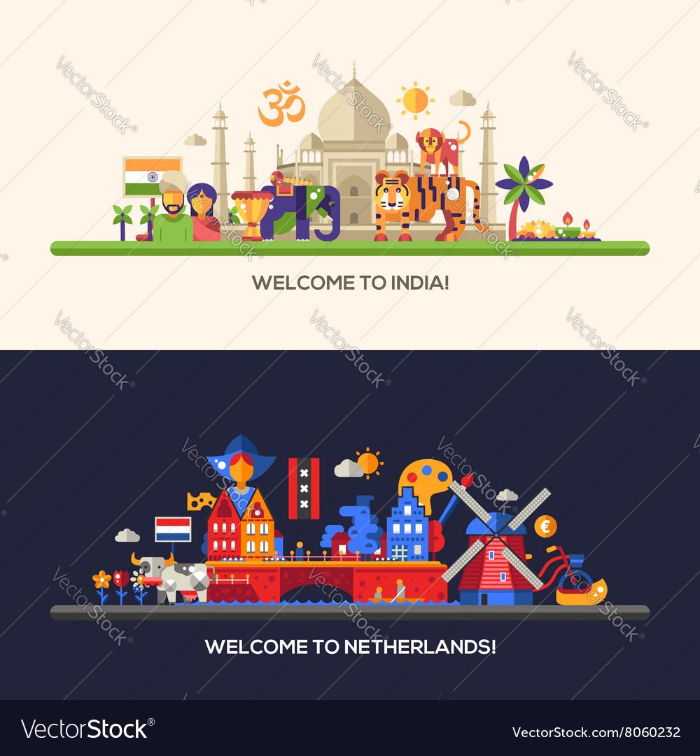 Flat design Holland India travel banners set