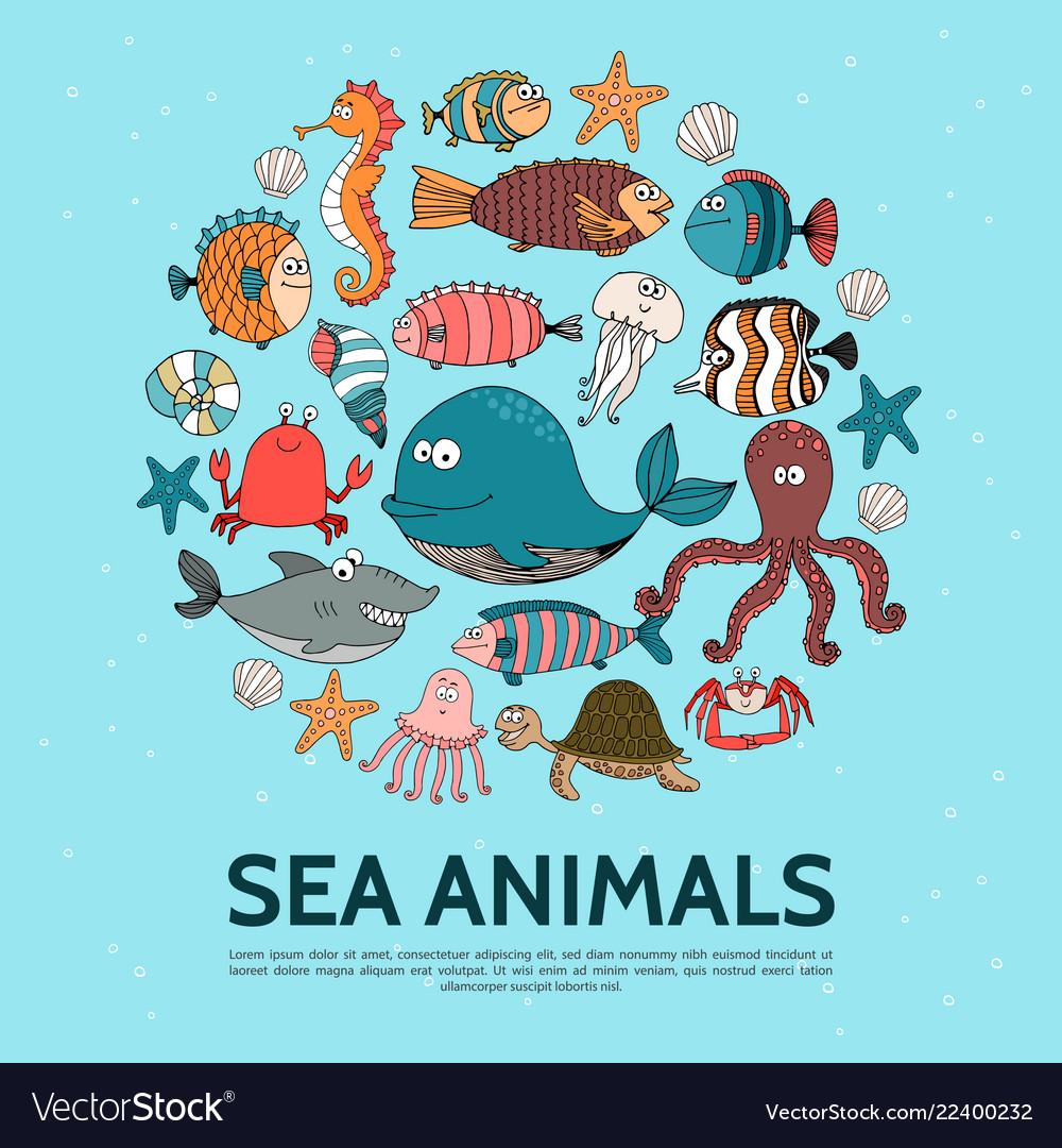 Flat sea life round concept