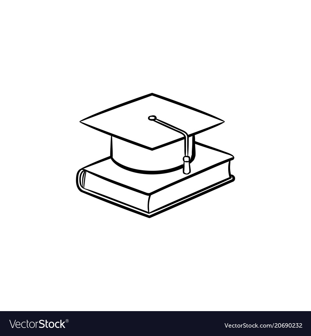 Graduation cap on book hand drawn sketch icon