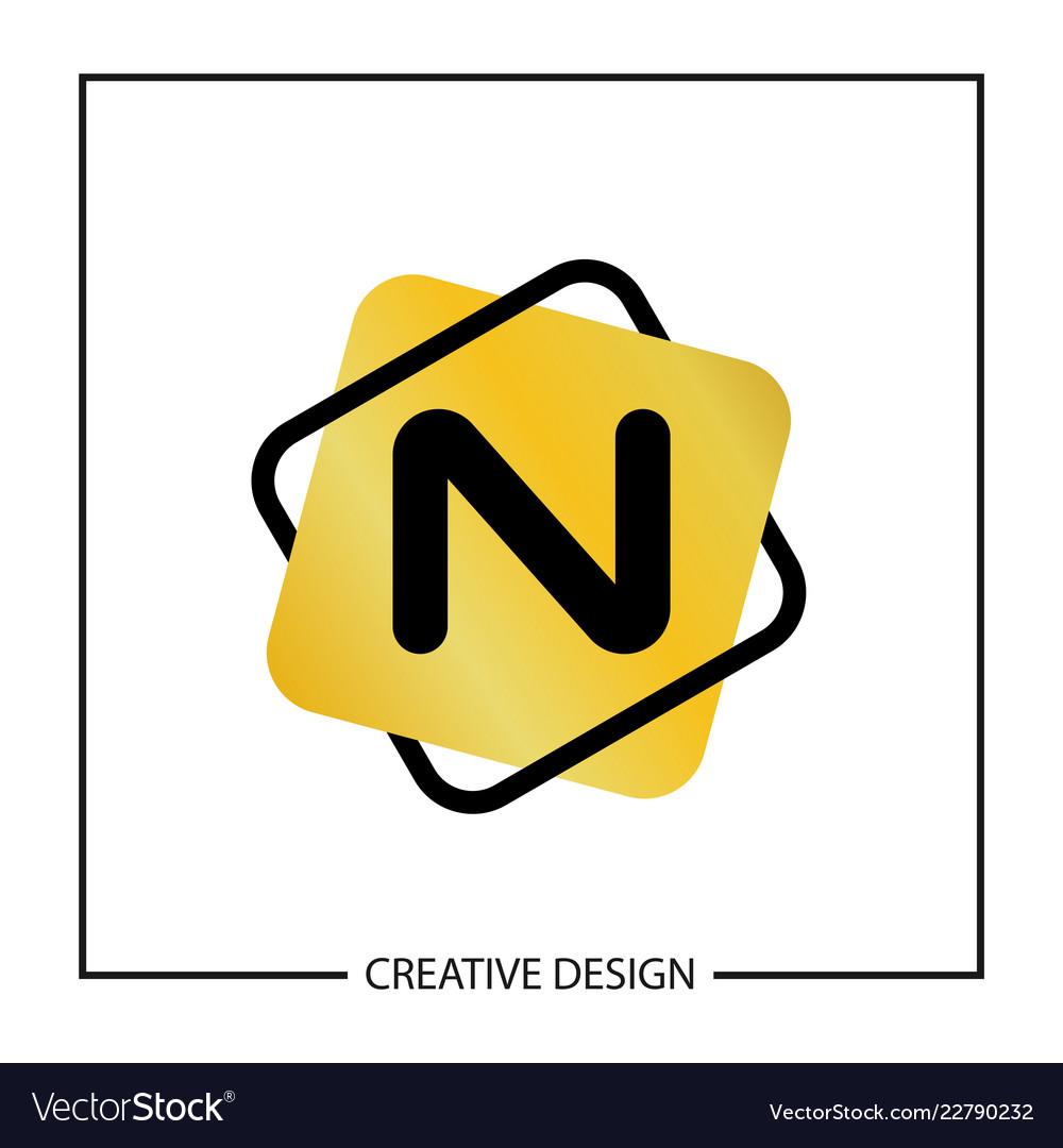 initial letter n logo template design vector image