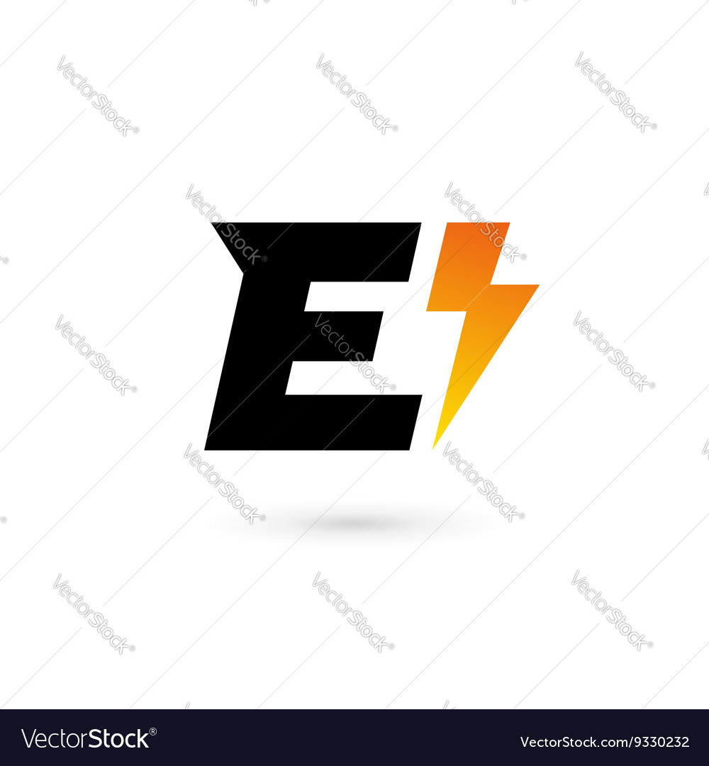 Letter E lightning logo icon design template
