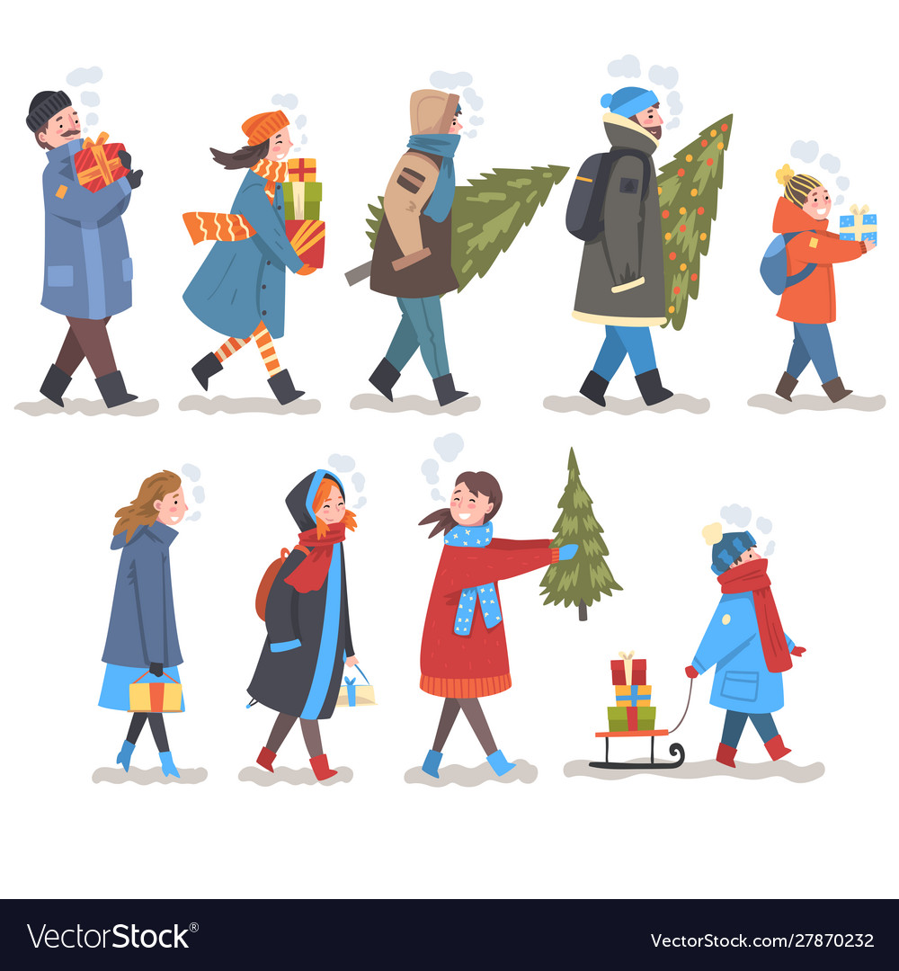 People in winter clothing carrying gift boxes and