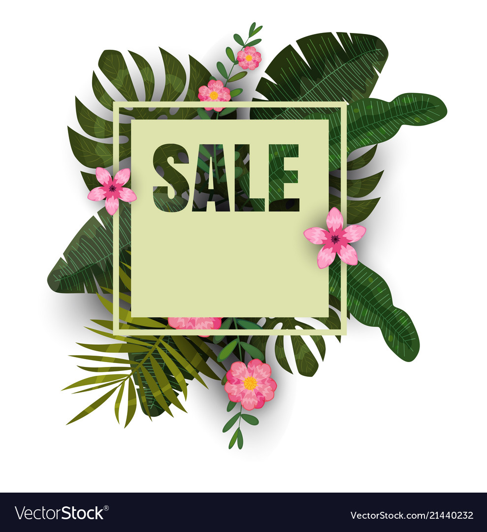Tropical sale design with bright flowers