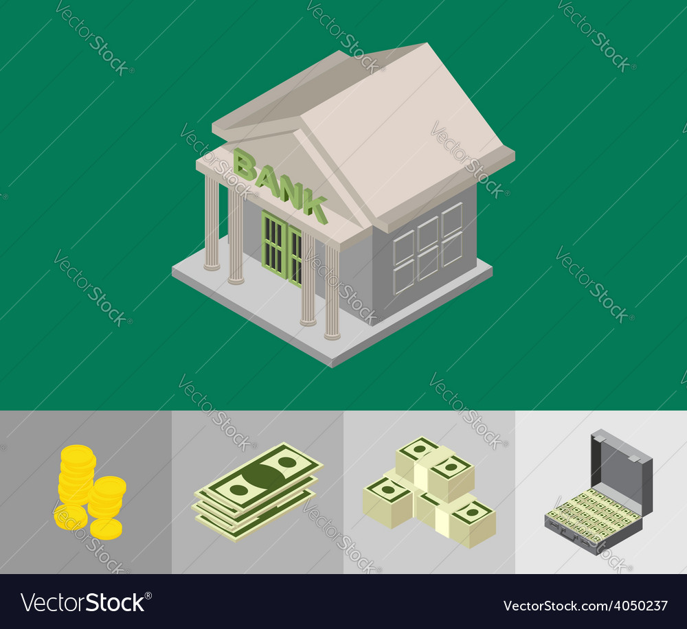 Bank isometric icons vector image