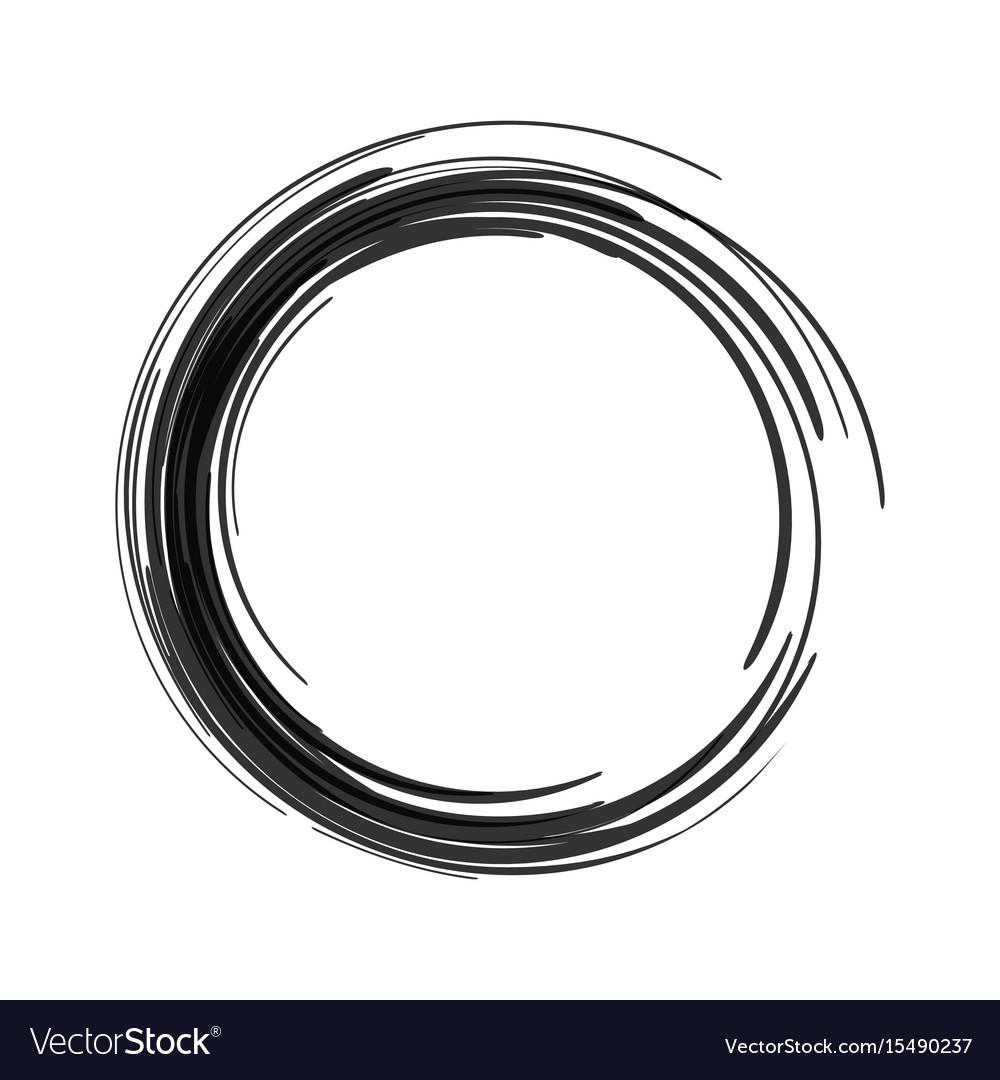 Black paint brush circle stroke abstract