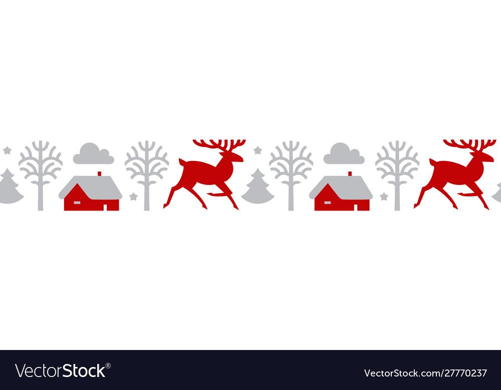 Christmas seamless patterin with reindeer fir