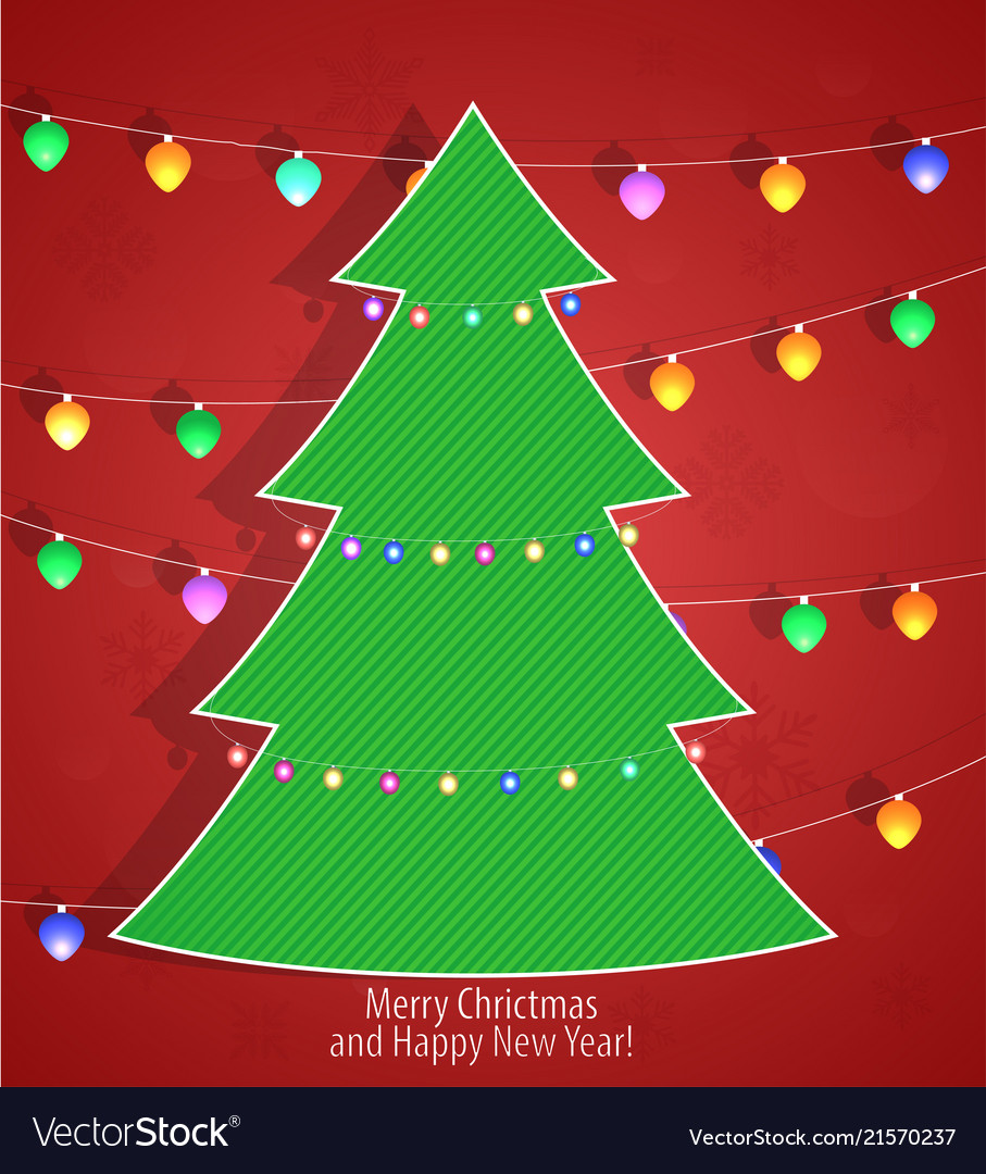 Christmas tree on a red background