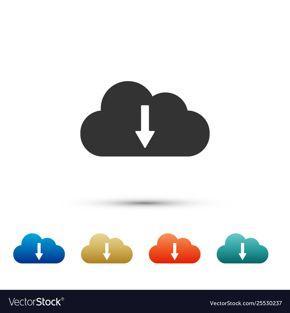 Cloud download icon isolated on white background